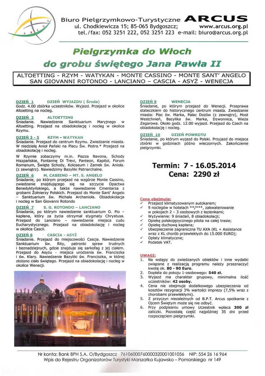 Plan pielgrzymki do Włoch 2014